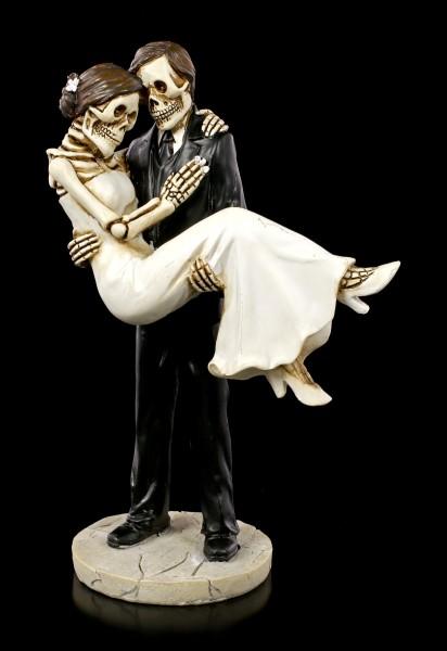 Skelett Brautpaar Figur - Bräutigam trägt Braut