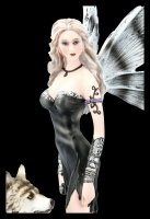 Elfen Figur - Elleth mit Wolf