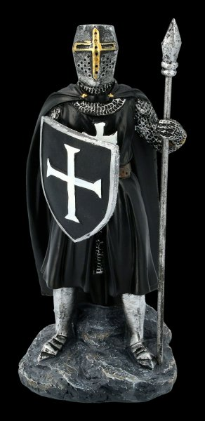 Templar Knight Figurine with Spear and Shield