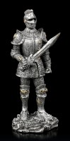 Small Knight Figurines - silver colored - Set of 4