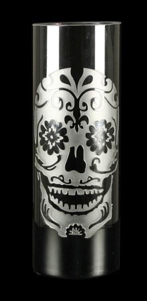 Blumenvase mit Totenkopf Gravur - Sugar Skull