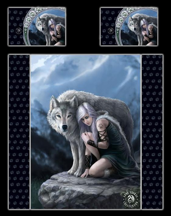Fantasy Double Bed Duvet Set - Wolf Protector by Anne Stokes