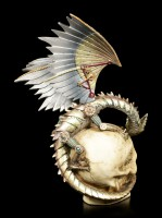 Steampunk Dragon Figure with Skull