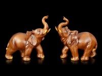 Elefanten Figuren - 2er Set Holzoptik