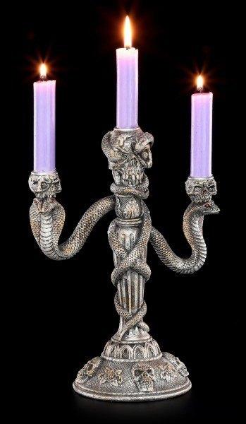 Kerzenhalter - Totenköpfe mit Schlangen