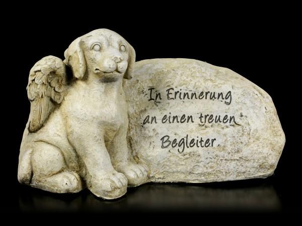 Hunde Engel Figur neben Grabstein