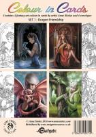 Grußkarten 4er Set zum Ausmalen - Dragon Friendship