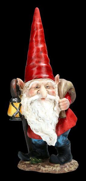 Gnome Figurine with Lantern & Sack
