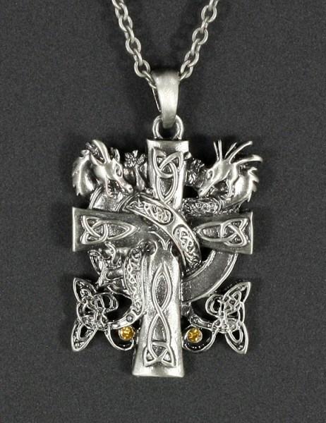 Halskette - Drachen mit keltischem Kreuz
