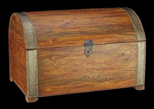 Mittelalterliche Holz Truhe - Piraten Schatztruhe