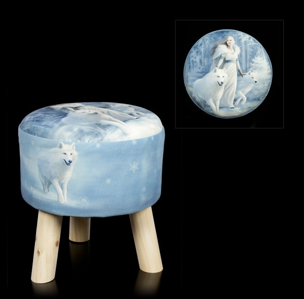 Stool with Wolves - Winter Guardians