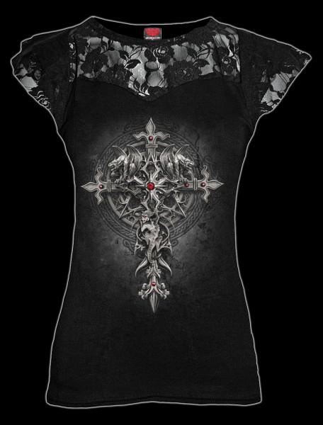Damen Netz Shirt - Gothic Kreuz - Custodian
