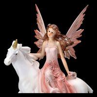 Fairy Figurine Riding a Unicorn - Old Rose Large