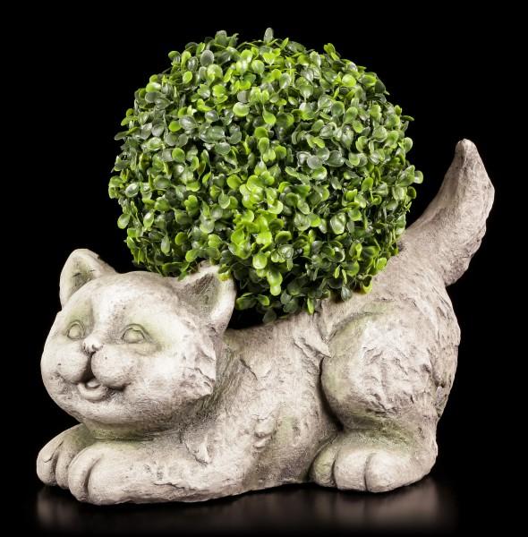 Gartenfigur - Verspielte Katze als Pflanzentopf