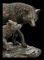 Wolf Mother Figurine with Puppy