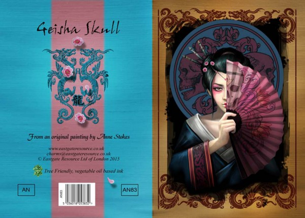 Fantasy Grußkarte - Geisha Skull