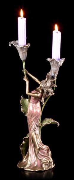 Jugendstil Kerzenhalter - Frau mit Lilien