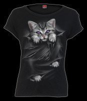 Bright Eyes Cat - Women Boatneck Top