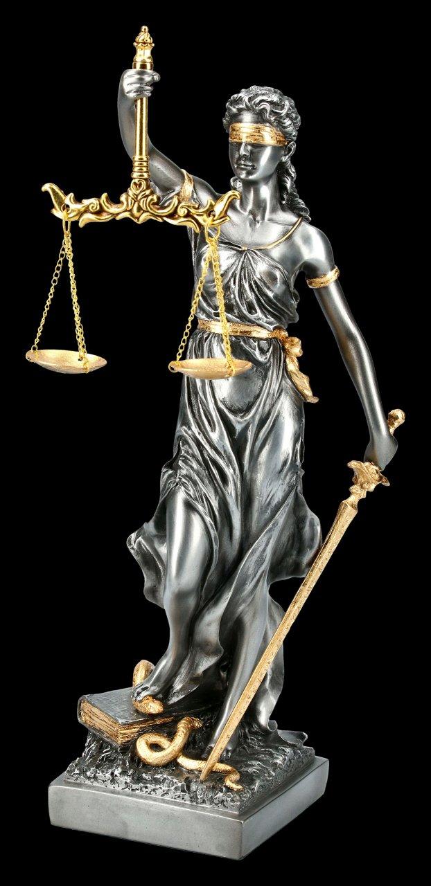 Mittlere Justitia Figur - Göttin der Gerechtigkeit - silber gold