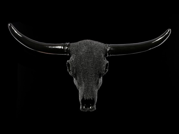 Wall Plaque Bull Skull - Black Nubby