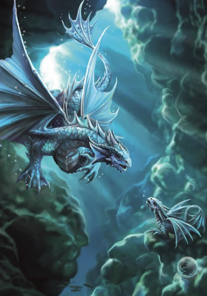 Drachen Grußkarte - Age Of Dragons - Water Dragon