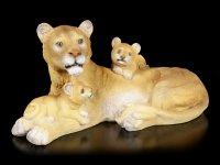 Garden Figurine - Lion Mama with two Ruffians