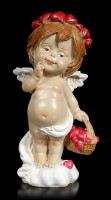 Cherub Figurine - Little Angel with Basket full of Hearts