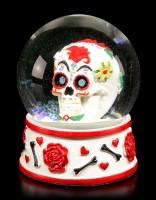 Snow Globe - Day of the Dead Skull - white
