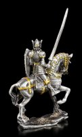 Pewter Knight Figurine on Horse with Lance