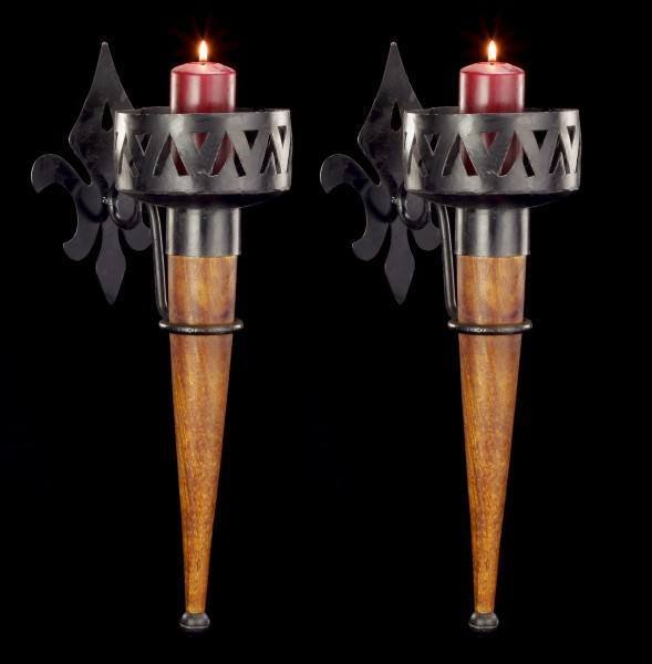 Medieval Wall Torches - Slim with Wooden Handle - Set of 2