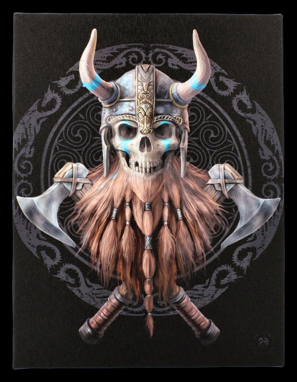 Kleine Leinwand mit Totenkopf - Viking Skull