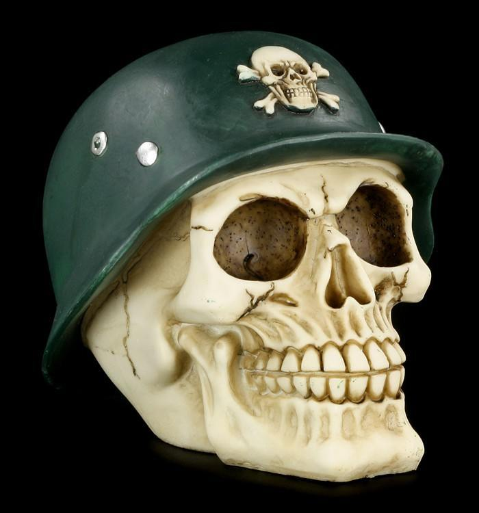 Totenkopf Spardose mit Stahlhelm