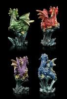 Kleine Drachen Figuren 4er Set - Auf Fels sitzend