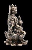 Lakshmi Figurine on Lotus Flower - bronzed