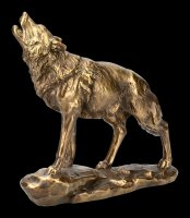 Howling Wolf Figurine - gold colored