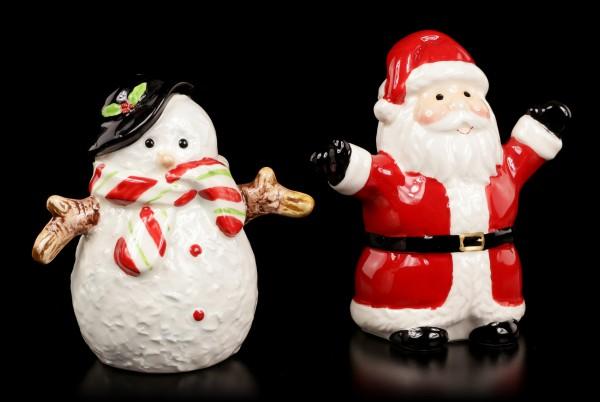 Salt and Pepper Shaker - Snowman & Santa Claus