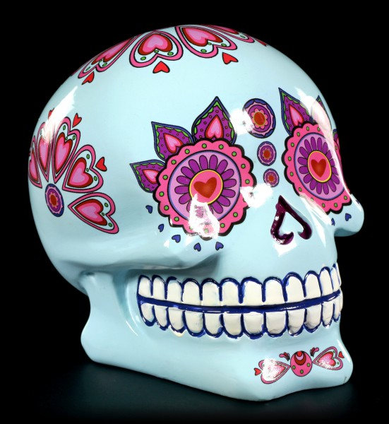 Spardose - Mexikanischer Day of the Dead Totenkopf - Blue Candy