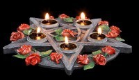 Tealight Holder - Pentagram and Roses
