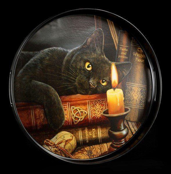 Rundes Tablett mit Katze - Witching Hour