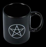 Schwarze Keramik Tasse - Pentagramm