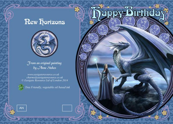 Fantasy Geburtstagskarte Drache - New Horizons