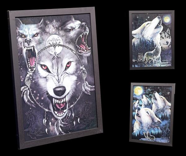 3D-Bild im Rahmen 3in1 - Die Macht der Wölfe