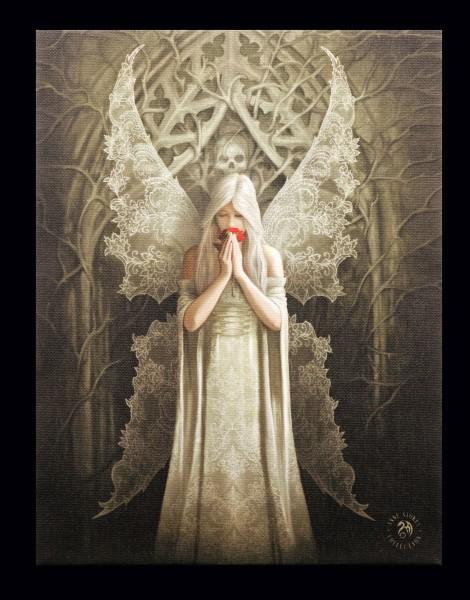 Kleine Leinwand mit Gothic Engel - Only Love Remains