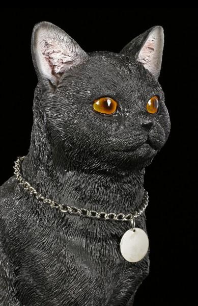 Cat Figurine with Metal Pendant - black