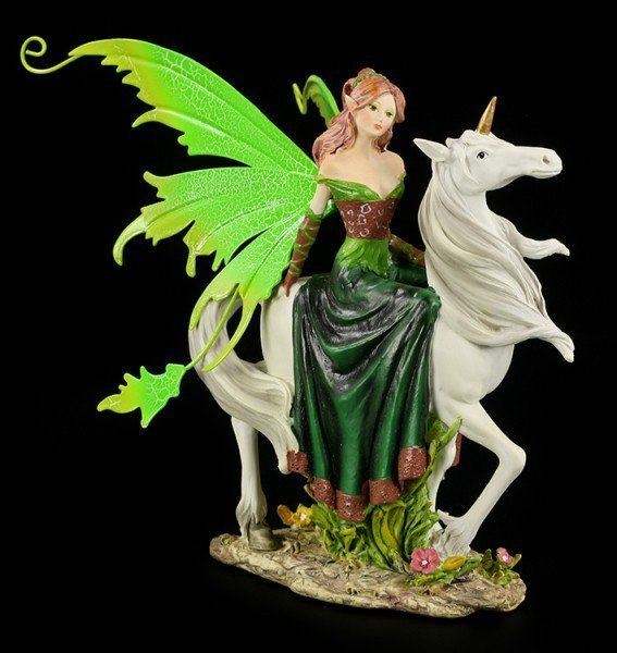 Fairy with green Dress on Unicorn