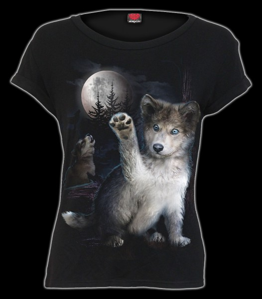 Damen Bootskragen Top Fantasy - Wolf Puppy