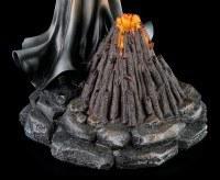 Schwarze Hexe Figur mit Rabenflügel - LED