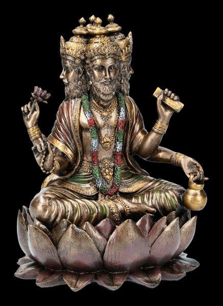 Hindu God Figurine - Brahma - Sitting on Lotus Flower