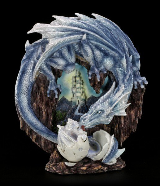 Deco Plate - Dragon Mother with Baby - blue