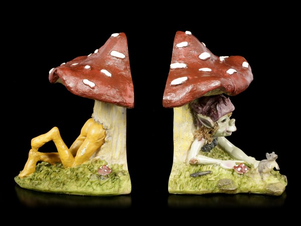 Pixie Figurine in Mushroom as Bookends
